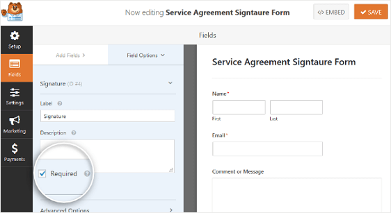 Require Field setting in Wp Signature Forms