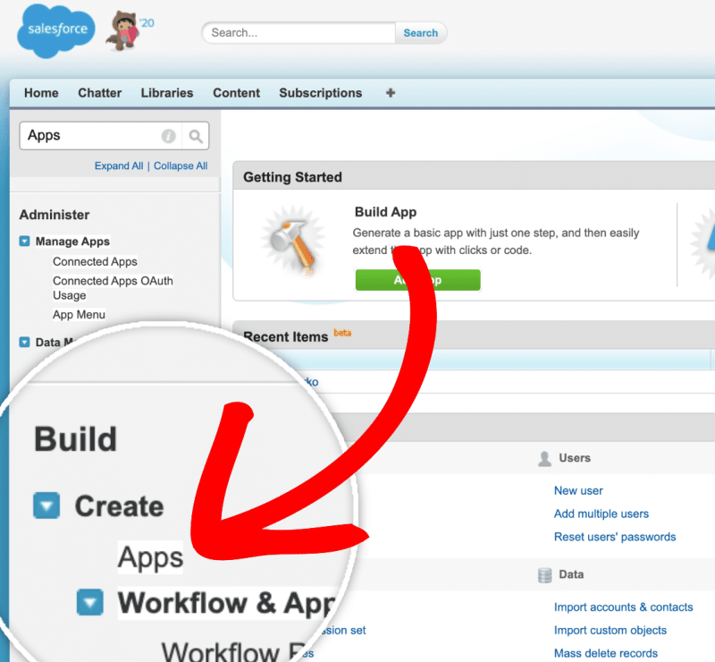 Creating new app in salesforce