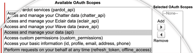Select Oauth Scopes for salesforce
