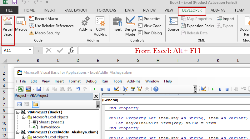 Open VBA from Excel