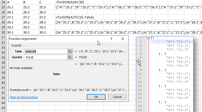 Excel to JSON