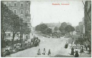 Der Antonsplatz in Chemnitz, an dem das Elternhaus meines Vaters mit der Tuchhandlung meines Großvaters stand