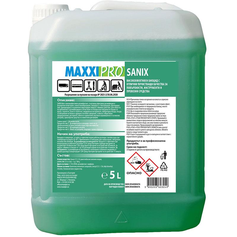 Дезинфектант за повърхности Maxxi Pro Sanix 5l