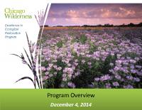 Chicago Wilderness Excellence in Ecological Restoration Program (Dec 2014)