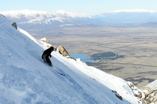 Biff Russell skiing in New Zealand