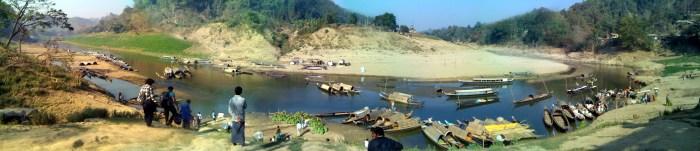 রুমা বাজার ঘাটের প্যানোরামা (ছবি ও এডিটিং: লেখক)