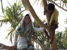 গিন্নী কেয়া গাছে উঠে বসেছেন - আর পাশে ঝুলে রয়েছে স্থানীয় এক বানর (?) (ছবি: নিশাচর)