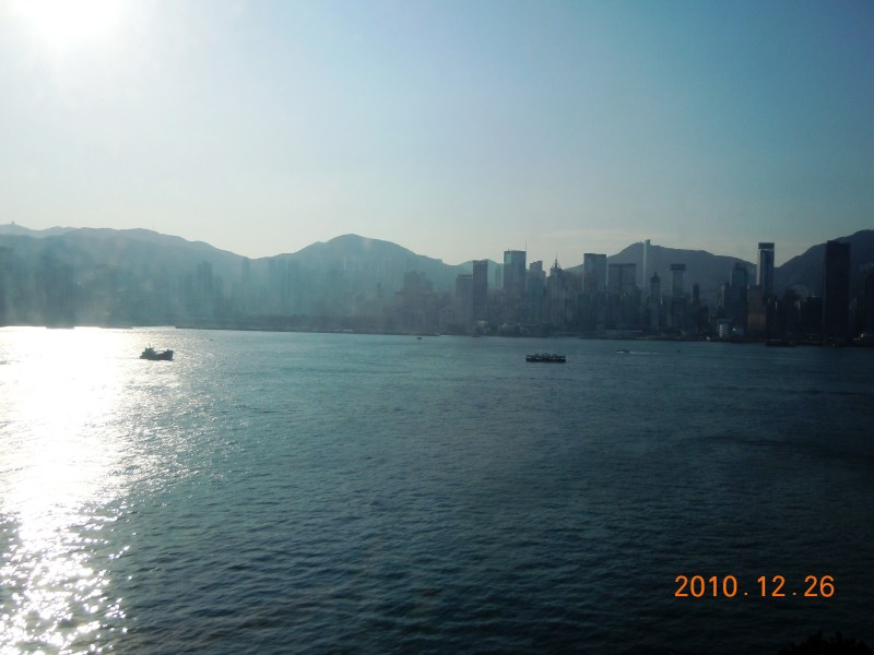The lovely view of the harbor from The Grand Shangri-La, Kowloon