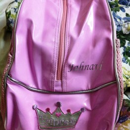 "The return gift - a backpack embossed with the snubnose's name and a little crown saying ""Princess"""