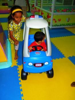 Helping Piglet manoeuver his car