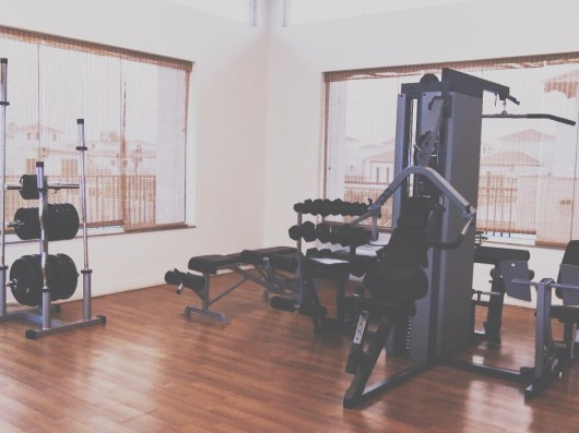 The small but well-equipped gym