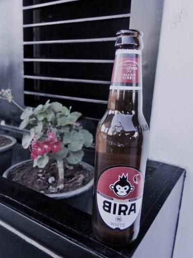 A bottle of Bira beer