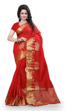 Shree Sanskruti Self Designer Cotton Sari With Golden Border