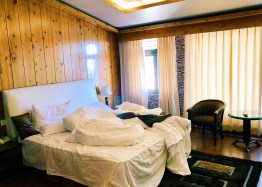 Loved the plush bedding and the wooden paneling