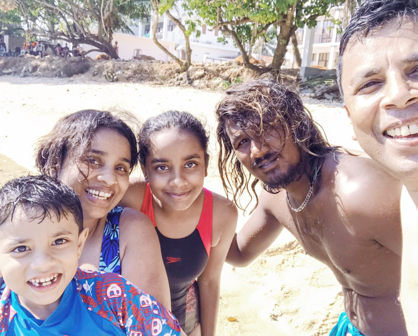 All of us after a year end diving and snorkeling session in the sea in Sri Lanka
