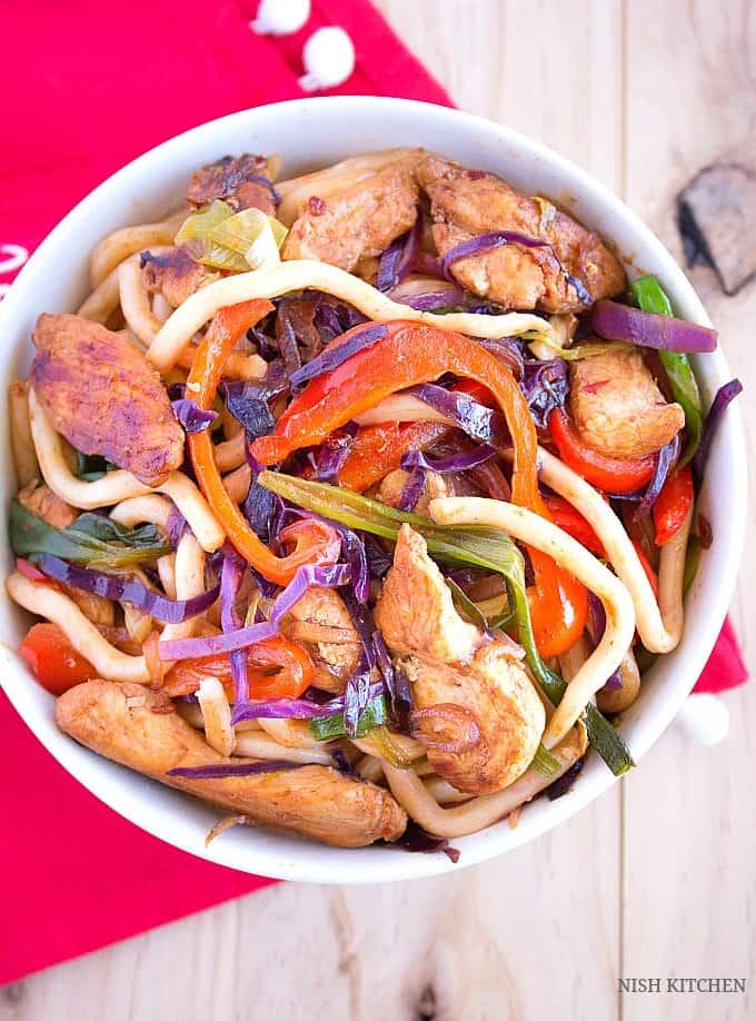 spicy thai chicken noodles