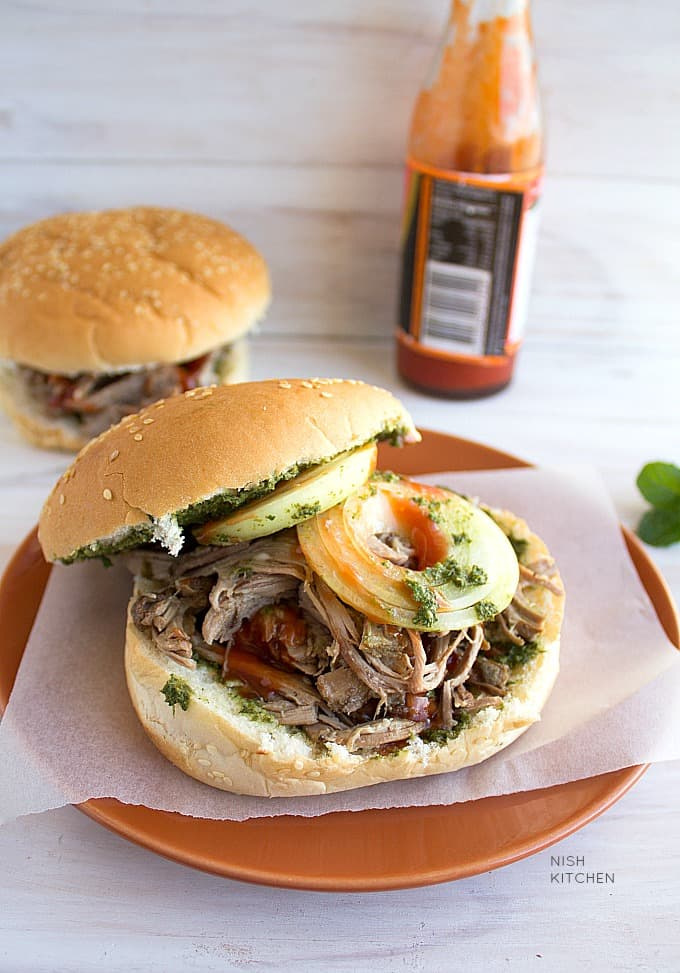 pulled lamb burger with video