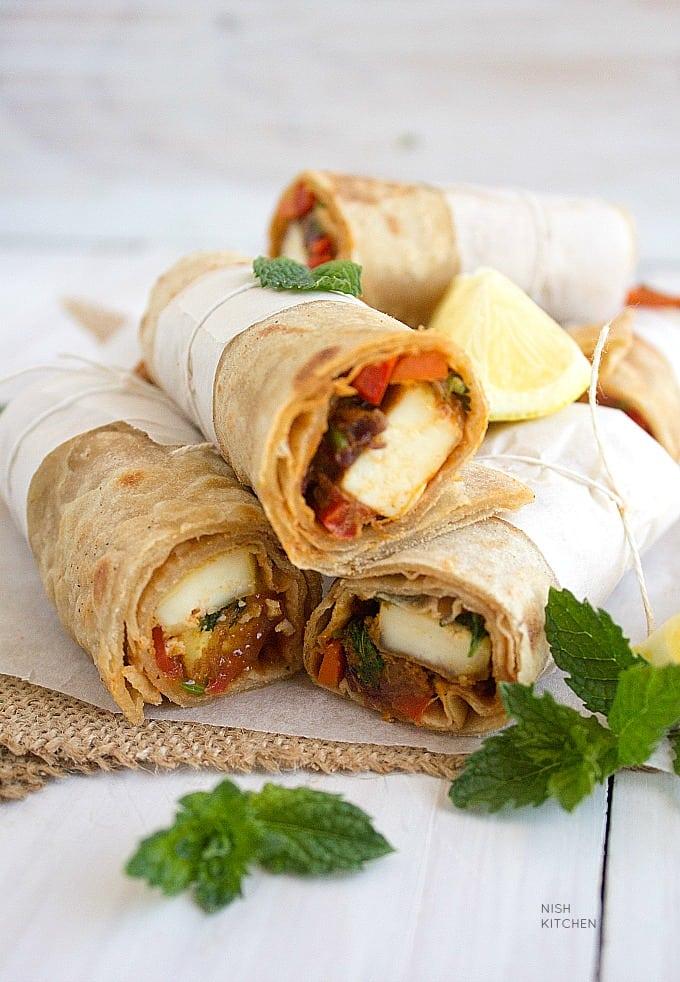 paneer kathi roll or paneer wrap with video