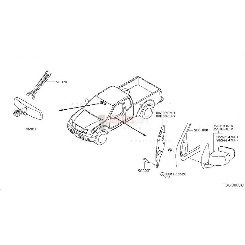 Espejo retrovisor derecho (copiloto)|Nissan|Frontier