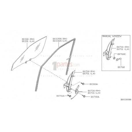 Canal perimetral vidrio derecho (copiloto)|Nissan|Frontier