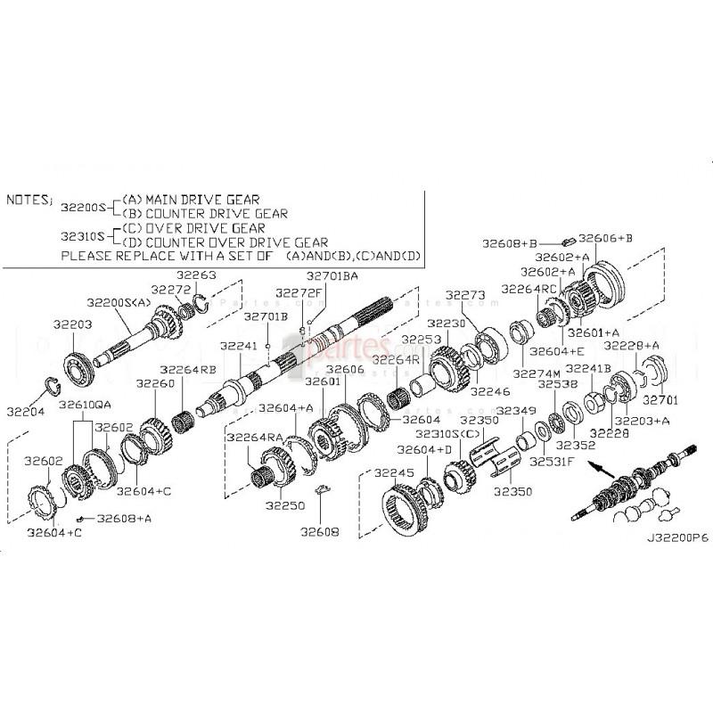 Juego de engranajes de 4ta|Nissan|Frontier|D22 Pickup