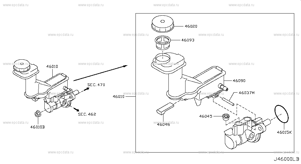 Buy genuine brake master cylinder (chassis) for Nissan X