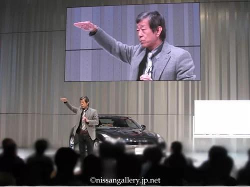 2012年11月、日産グローバル本社ギャラリーで行われたGT-Rセミナーでの水野和敏さん。