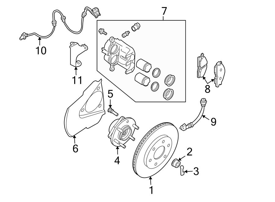 Nissan Frontier Abs wheel speed sensor (front). Suspension