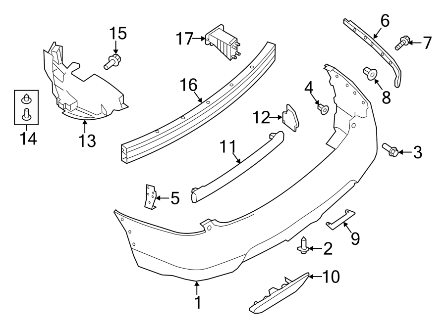 Nissan Rogue Bumper Impact Bar Bracket (Front, Rear). 2014