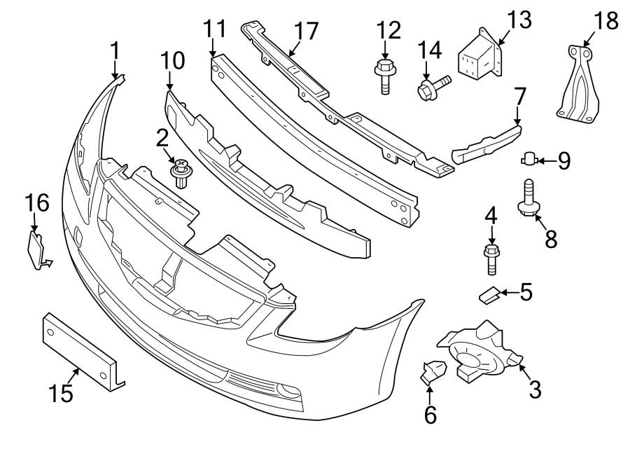 2011 Nissan Altima Bumper Cover Reinforcement Bracket