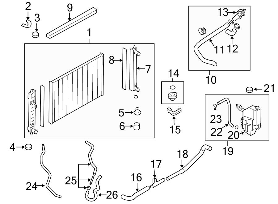 2014 Nissan Quest Pipe. Coolant. Radiator, Hose, Engine