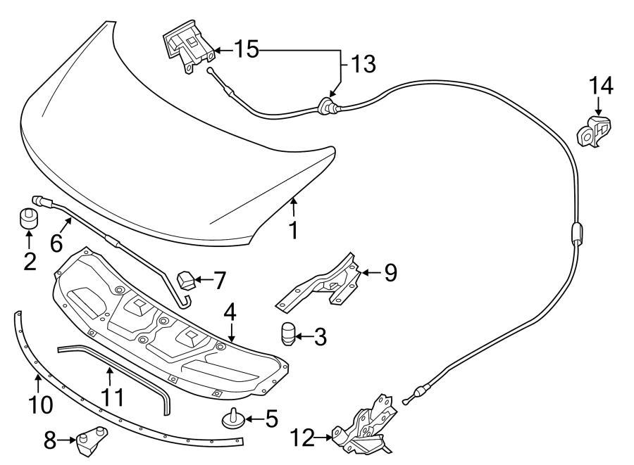 2011 Nissan Rogue Hood Prop Rod Clip. COMPONENTS, Body