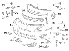 Nissan Altima Retainer. Cover. Bracket. Bumper. Mounting