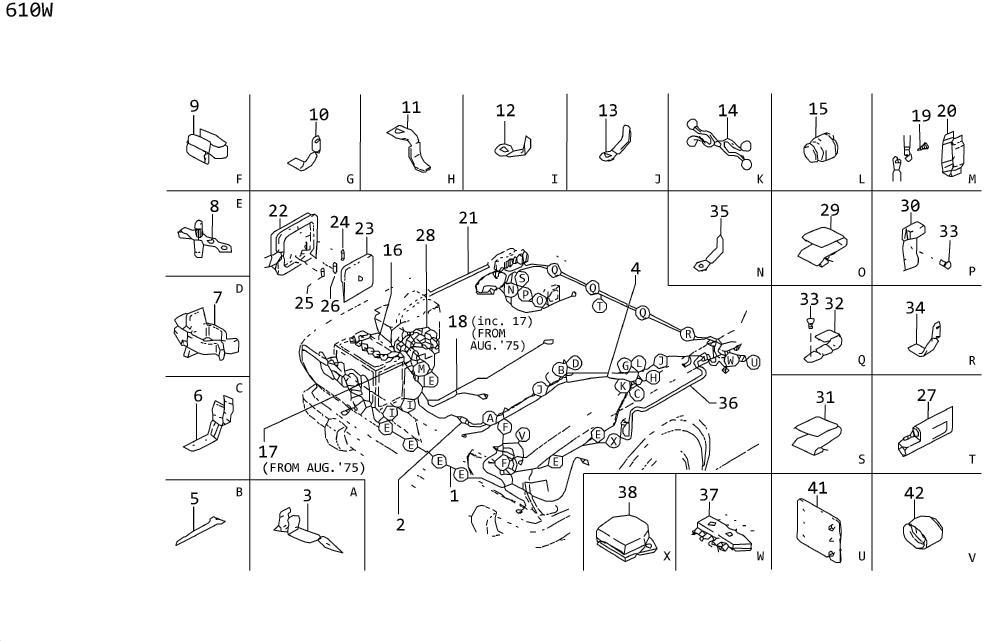 Datsun 610W Block, Fuse. Harness Main. WIRING, System