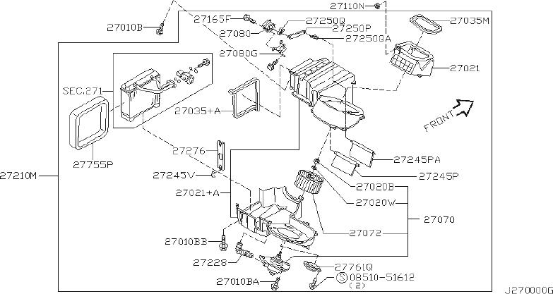 Nissan Maxima Hvac Heater Mode Door Lever. UNIT, CON, AIR