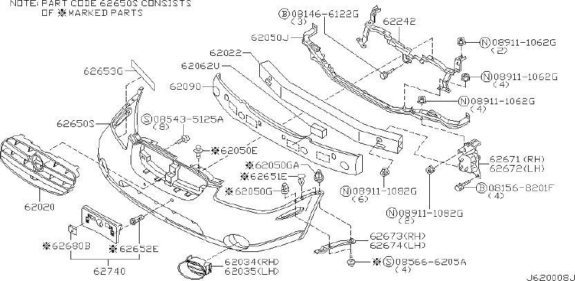 Nissan Maxima Bumper Cover Reinforcement Nut (Front