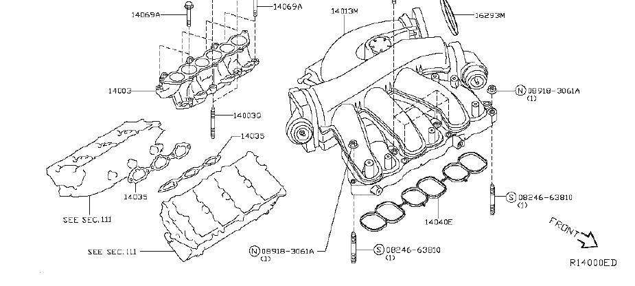 Nissan Maxima Engine Intake Manifold. COVER, EXHAUST