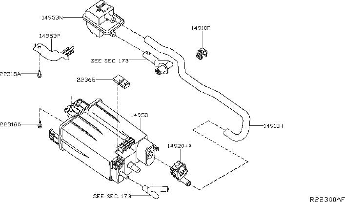 Nissan Maxima Vapor Canister Filter Bracket. PIPING, FWD