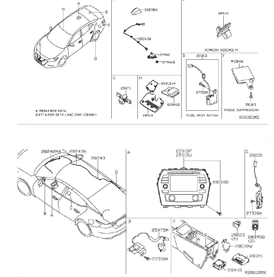 Nissan Maxima Audio Auxiliary Jack. UNIT, ANTENNA, CAMERA