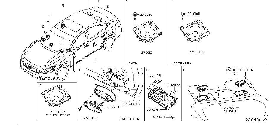 Nissan Maxima Radio Amplifier. System, SPEAKER, Electrical