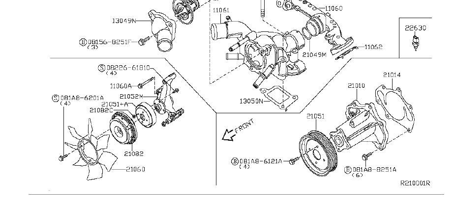 Nissan Titan Engine Cooling Fan Pulley. WATER, PUMP