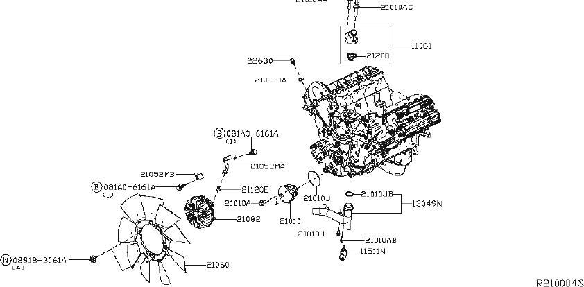 Nissan Titan Engine Cooling Fan Clutch Bracket. SYSTEM