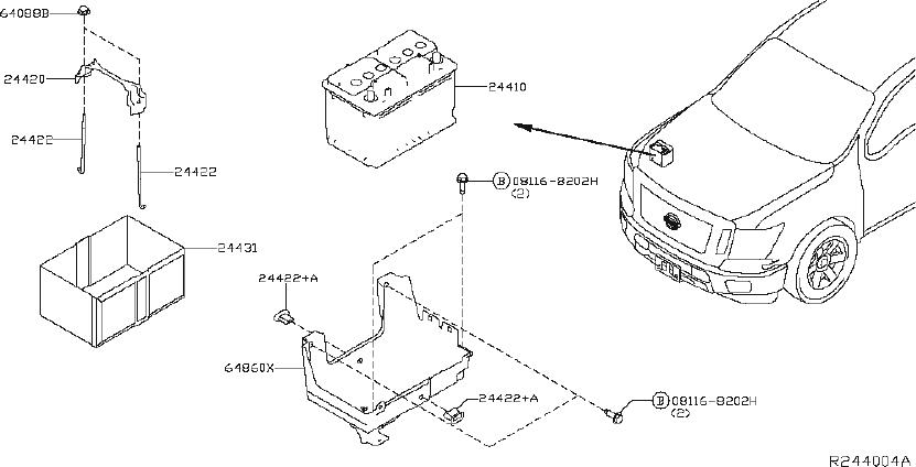 Nissan Titan Battery Tray. System, MOUNTING, Electrical