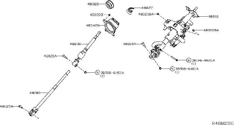 Nissan Titan Column Steering. (Upper). PRO, PACKAGE, MWB