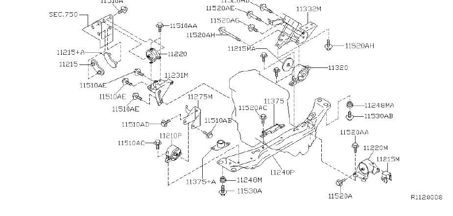 Nissan Sentra Engine Mount (Front). TRANSMISSION, MOUNTING