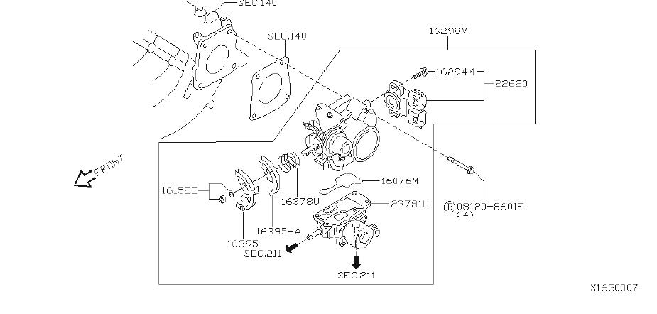 Nissan Sentra Fuel Injection Throttle Body. Engine