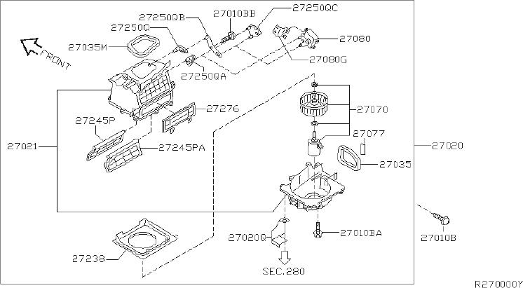 Nissan Sentra Instrument Panel Air Duct. UNIT, HEATER
