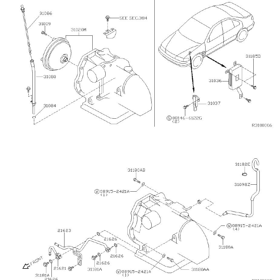 Nissan Sentra Automatic Transmission. FITTING, ASSEMBLY
