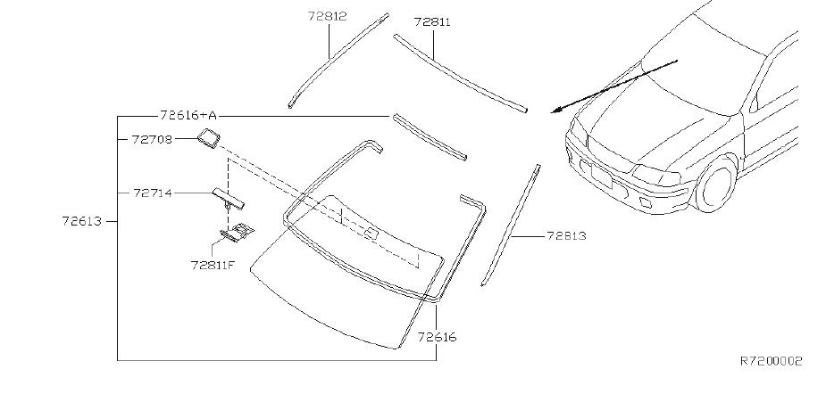 Nissan Sentra Windshield Seal. Trim, Interior, FRONT, Body