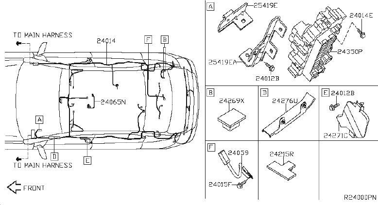 Nissan Sentra Bracket Harness Clip. SRS Product. System